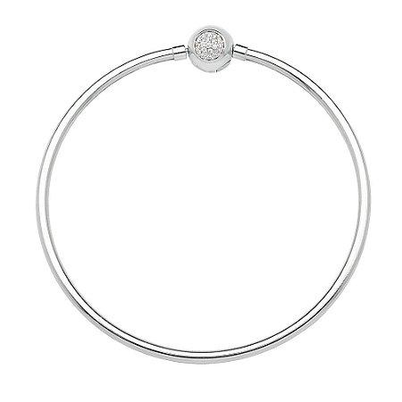 Bracelete Berloque Rígido de Prata com Zircônias