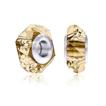 Berloque Swarovski Separador Cristal Dourado