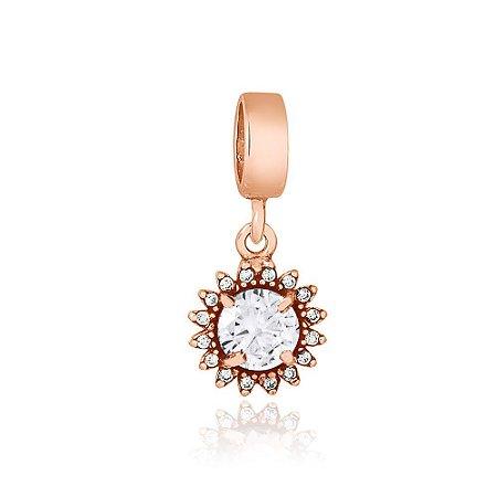 Berloque Rosé Pingente Brilhante Cristal