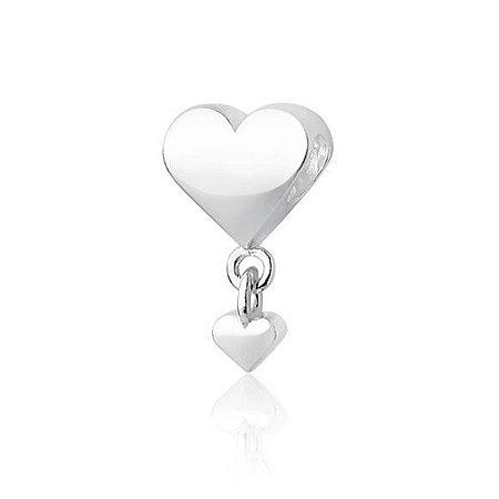 Berloque de Prata Separador Coração com Pingente
