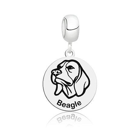 Berloque de Prata Cachorro Raça Beagle