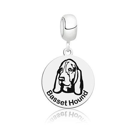Berloque de Prata Cachorro Raça Basset Hound