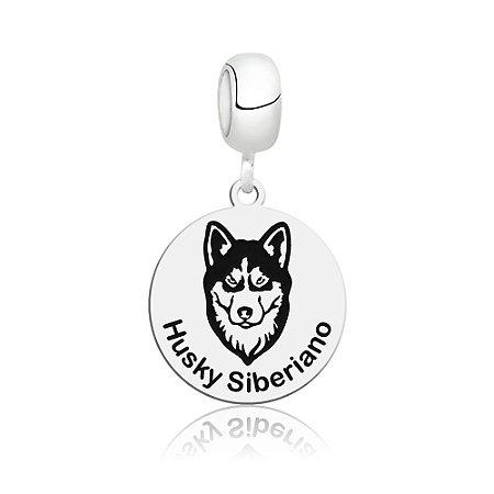 Berloque de Prata Cachorro Raça Husky Siberiano