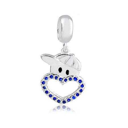 Berloque de Prata Menino Coração com Zircônias Azul