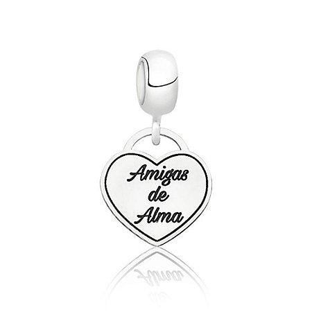 Berloque de Prata Coração Amigas de Alma