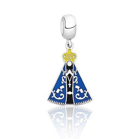 Berloque de Prata Nossa Senhora Aparecida Azul