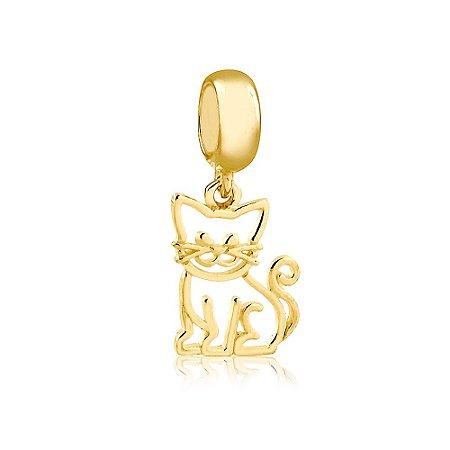 Berloque Pingente Gato Vazado Folheado a Ouro