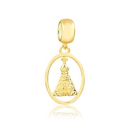 Berloque Pingente Santa Nossa Senhora Aparecida Folheado a Ouro