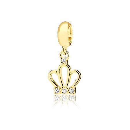 Berloque Pingente Coroa Vazada com Zircônias Folheado a Ouro