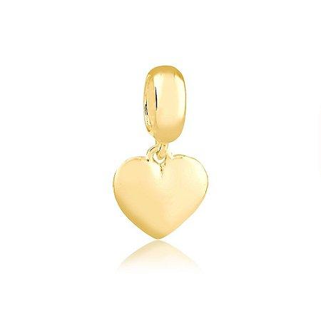 Berloque Pingente Coração Folheado a Ouro