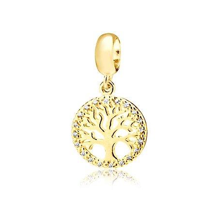 Berloque Árvore da Vida com Zircônias Folheado a Ouro