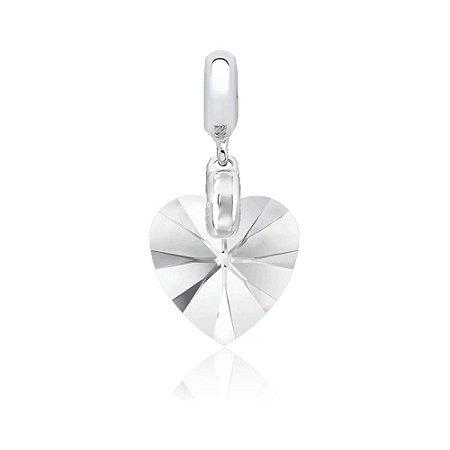 Berloque de Prata Pingente Coração Cristal Swarovski