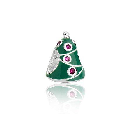 Berloque de Prata Árvore da Natal com Zircônias
