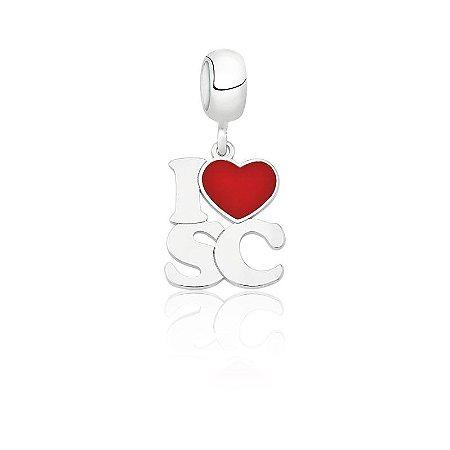 Berloque de Prata Pingente I Love SC