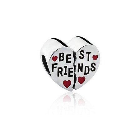 Berloque de Prata Separador Coração Best Friends