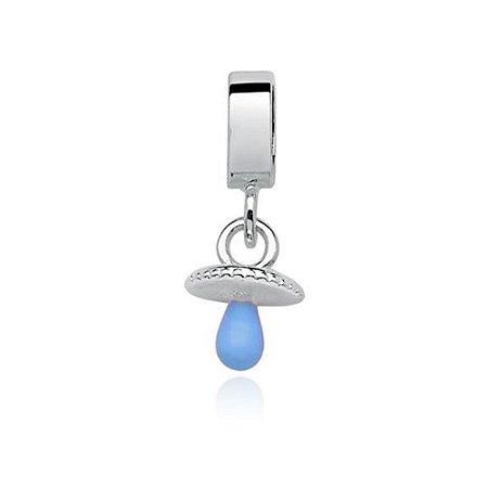 Berloque de Prata Chupeta Azul