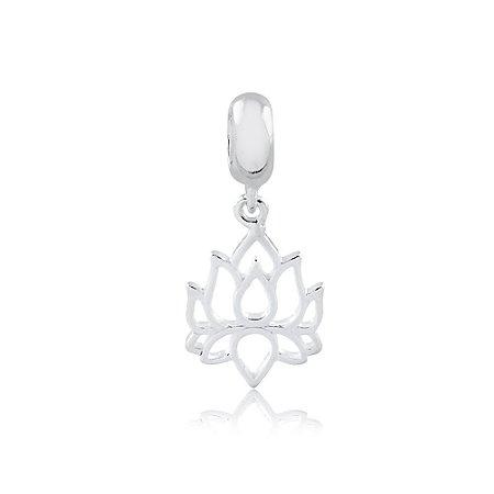 Berloque de Prata Pingente Flor de Lotus Vazada