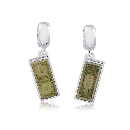 Berloque de Prata Nota de Dólar
