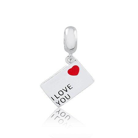 Berloque de Prata Carta de Amor