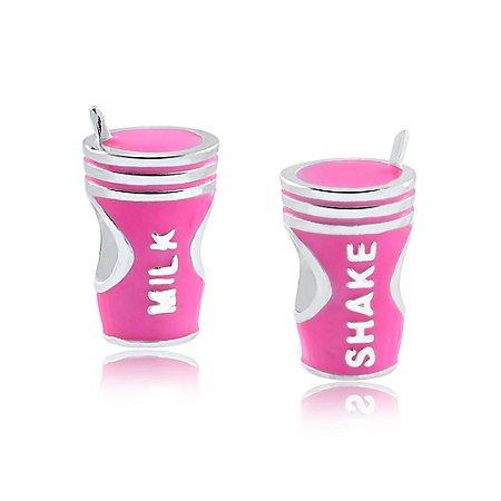 Berloque de Prata Milk Shake Rosa