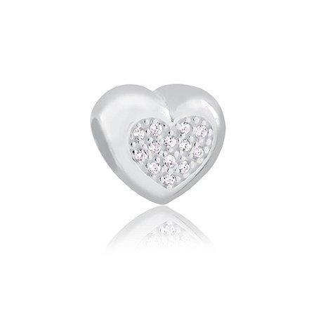 Berloque de Prata Separador Coração com Zircônias Cristal