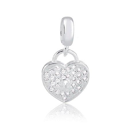 Berloque de Prata Pingente Coração Cadeado com Zircônias