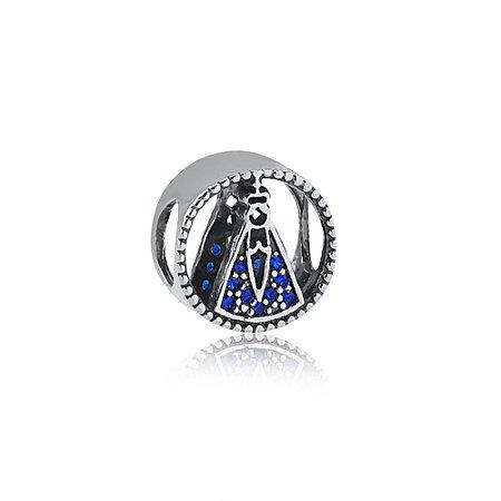 Berloque de Prata Separador Nossa Senhora com Zircônias Azuis