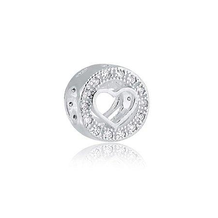 Berloque de Prata Separador Coração Vazado com Zircônias Redondo