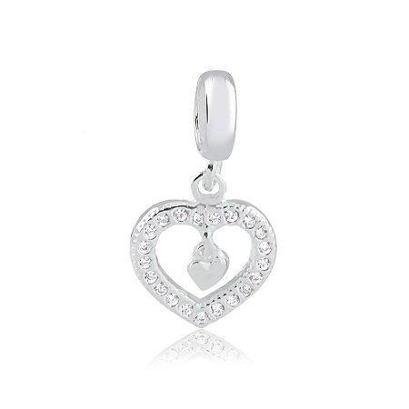 Berloque de Prata Coração e Coraçãozinho com Zircônias