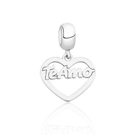 Berloque de Prata Coração Te Amo Vazado