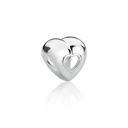 Berloque de Prata Separador Coração Vazado