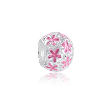 Berloque de Prata Separador Flores Rosa