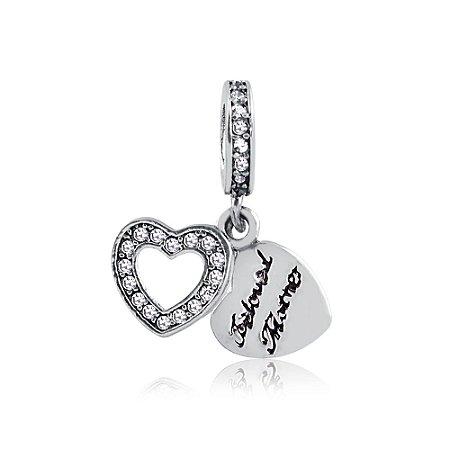 Berloque de Prata Coração Amada Mãe com Zircônias