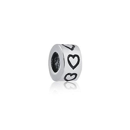 Berloque de Prata Separador Cilindro Corações