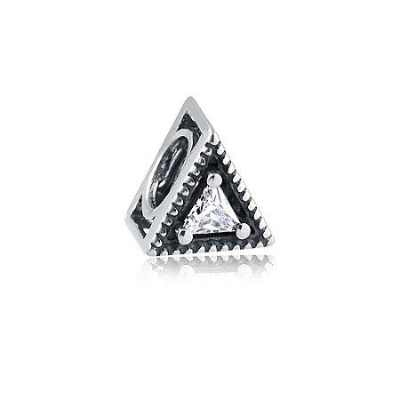 Berloque de Prata Separador Triângulo com Zircônia