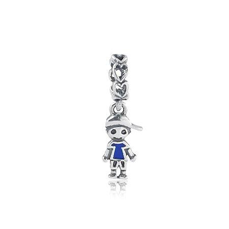 Berloque de Prata Pingente Menino Boné Azul