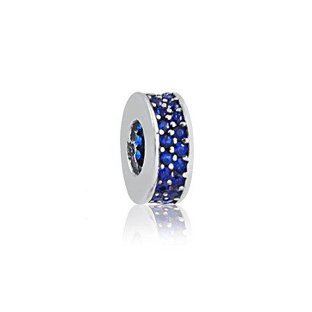 Berloque de Prata Separador Zircônias Azul