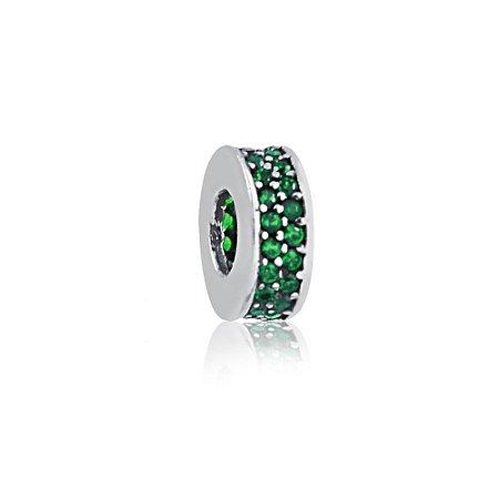 Berloque de Prata Separador Zircônias Verde