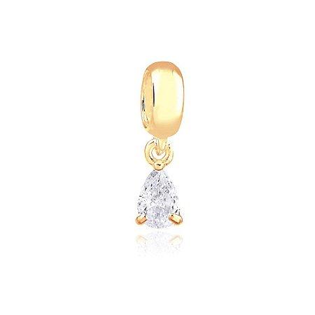 Berloque Mini Ponto de Luz Gota Folheado a Ouro