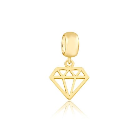 Berloque Mini Diamante Folheado a Ouro