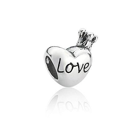 Berloque de Prata Separador Coração Coroa Love