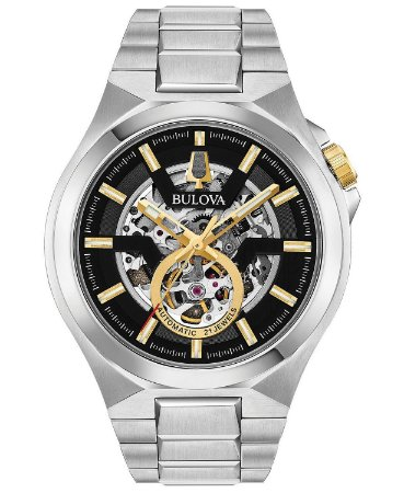 Relógio Bulova Skeleton automático 98A224 masculino