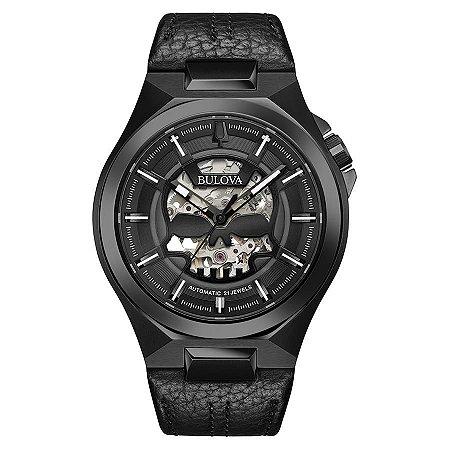 Relógio Bulova Skeleton MACHINE SKULL automático 98A238 masculino
