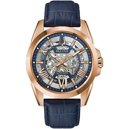 Relógio Bulova Sutton automático 97A161 Esqueleto masculino