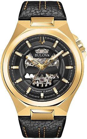 Relógio Bulova Skeleton MACHINE SKULL automático 97A148 masculino