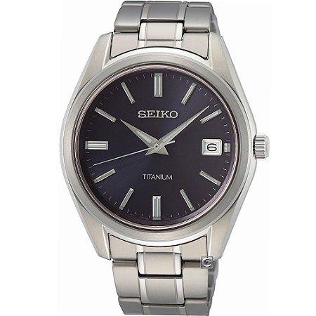 Relógio Seiko Quartz Sur373b1 Titanium + Safira Masculino