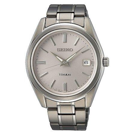 Relógio Seiko Quartz Sur369b1 Titanium + Safira Masculino