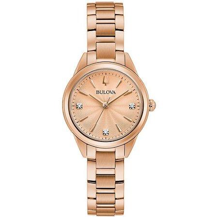 Relógio Bulova Classic Sutton Diamond 97p151 feminino