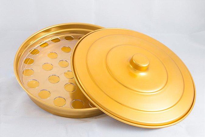 Bandeja de Alumínio para Cálices - Dourada - Média (espaço para 34 Cálices)