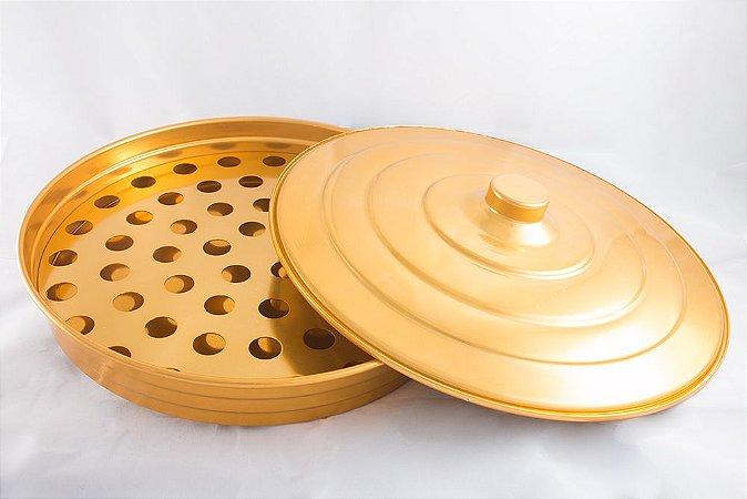 Bandeja de Alumínio para Cálices - Dourada - Grande (espaço para 54 cálices)